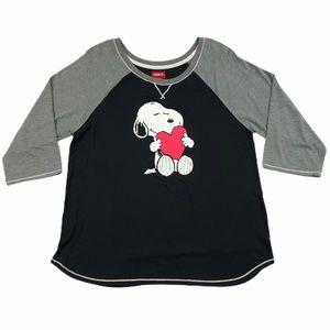Peanuts Snoopy Heart Black Gray ¾ Sleeves Shirt XL